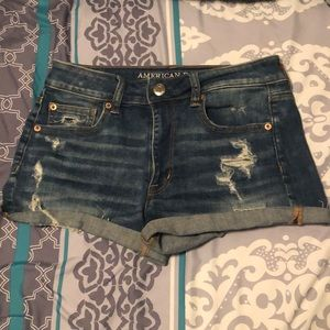 American eagle jean shorts with rips